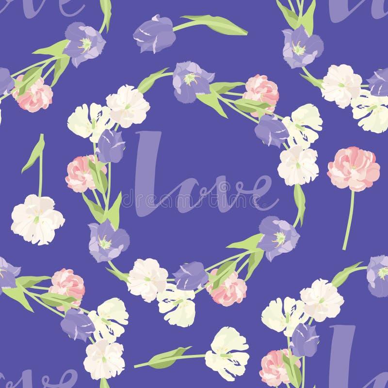 De roze en lilac Kaders van het tulpen Naadloze patroon op het blauwe achtergrondliefde Van letters voorzien stock illustratie