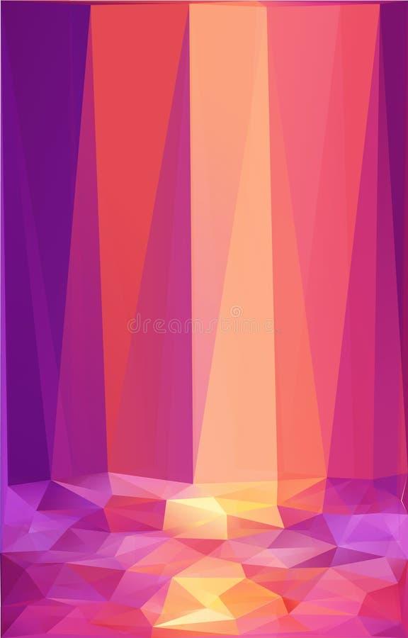 De roze en oranje achtergrond van de driehoeken abstracte vectoraffiche stock illustratie