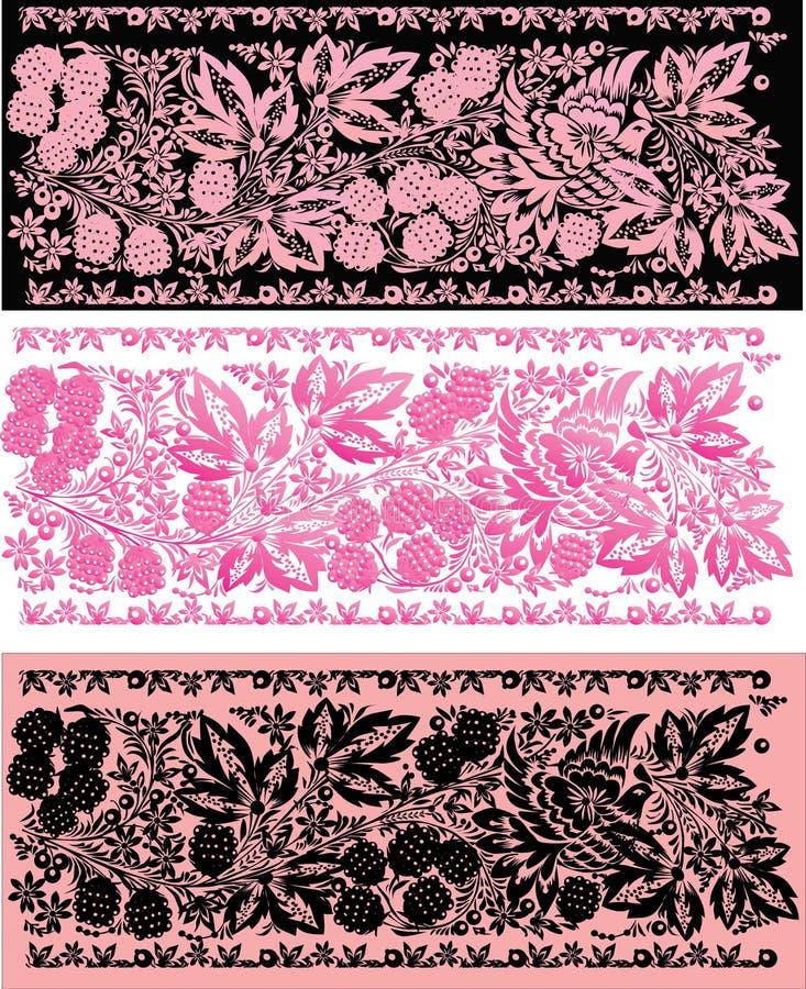 De roze en zwarte stroken van de boom stock illustratie