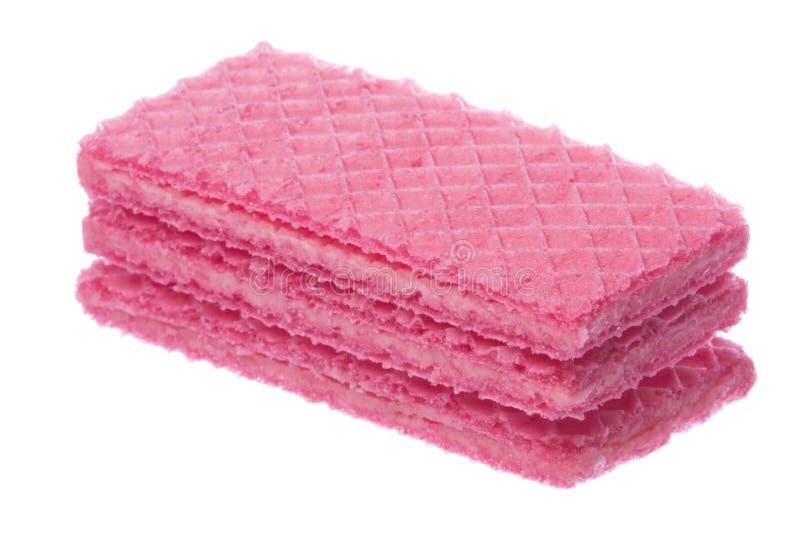 De roze Geïsoleerde Macro van Wafeltjes stock foto