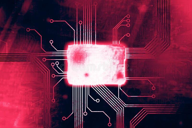 De roze Gekleurde kern van de digitale computerspaander royalty-vrije illustratie