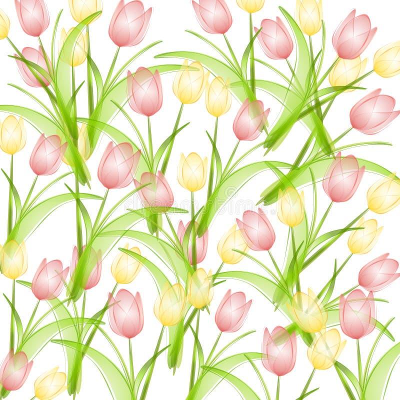 De roze Gele Achtergrond van de Tulpen van de Lente stock illustratie