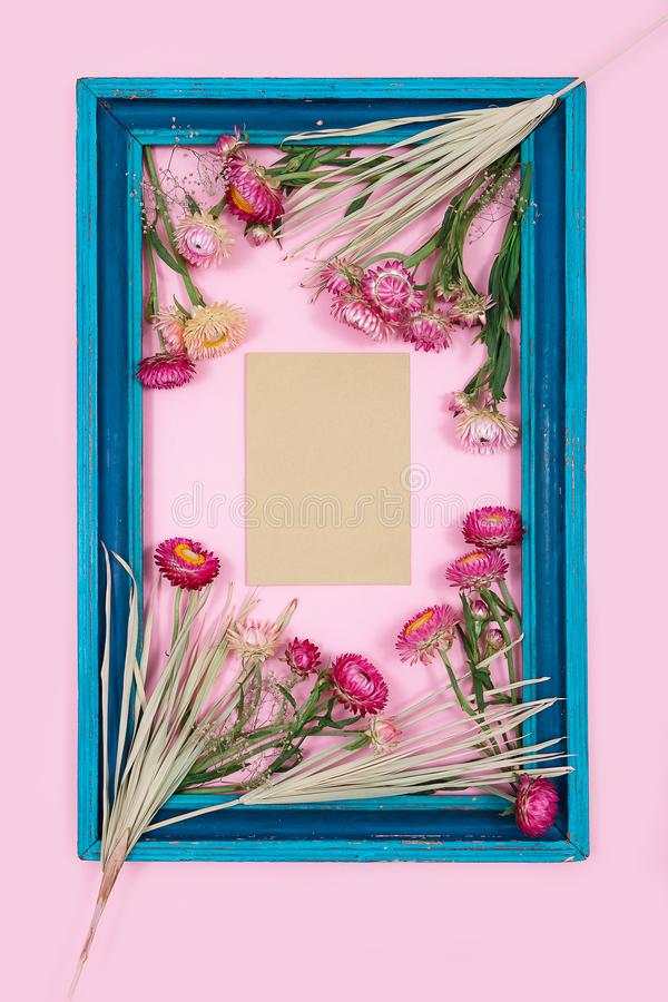 De roze gele ruimte van het de kaartexemplaar van de bladeren hoogste mening bloeit van het de achtergrond herfst de blauwe kader stock afbeeldingen