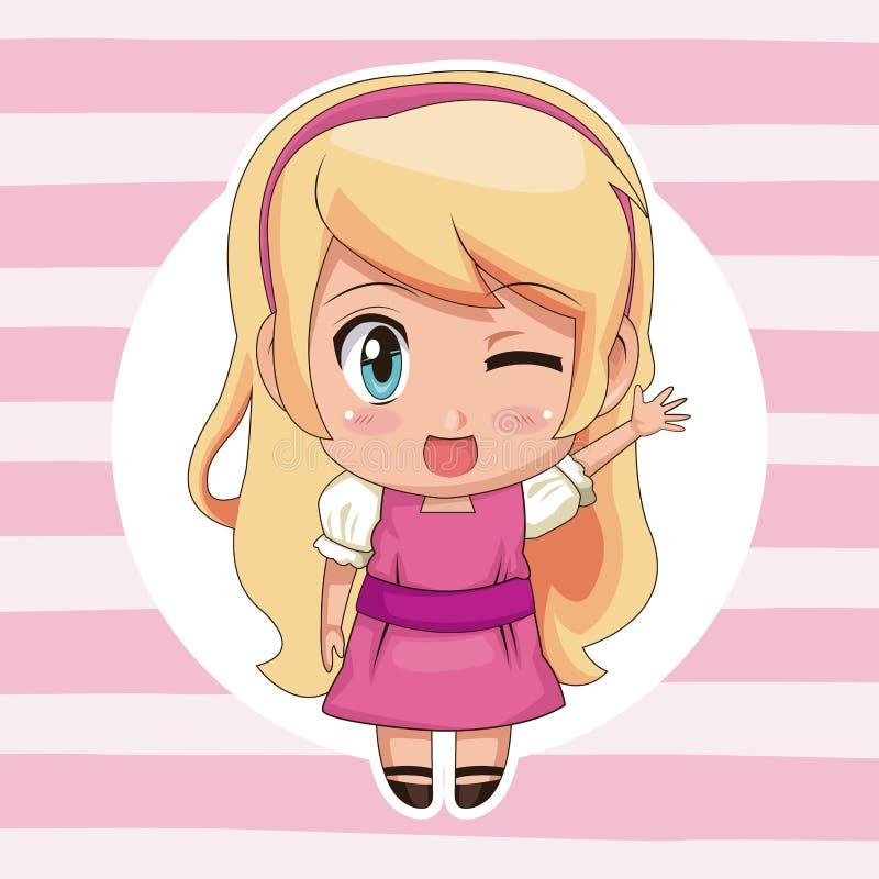 De roze gestreepte kleurenachtergrond met cirkelkader en het leuke animemeisje knipogen uitdrukkingsgroet met blond lang kapsel vector illustratie