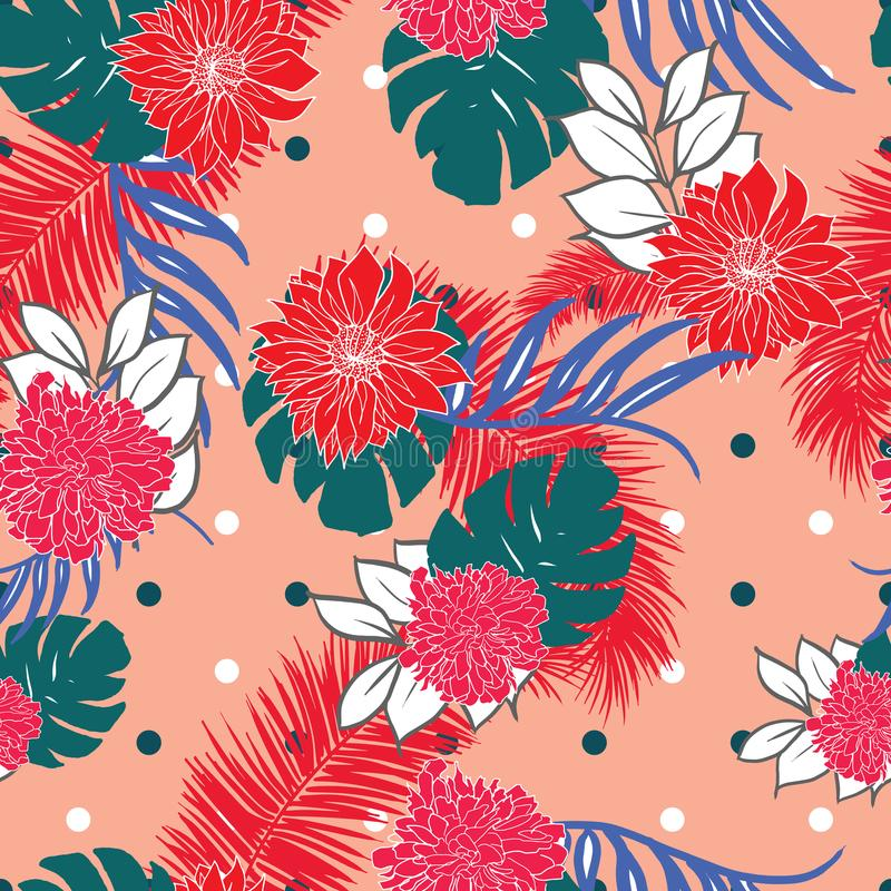 De roze hand getrokken Hawaiiaanse tropische bladeren en de bloemen retro punten ontwerpen naadloze patroonvector vector illustratie