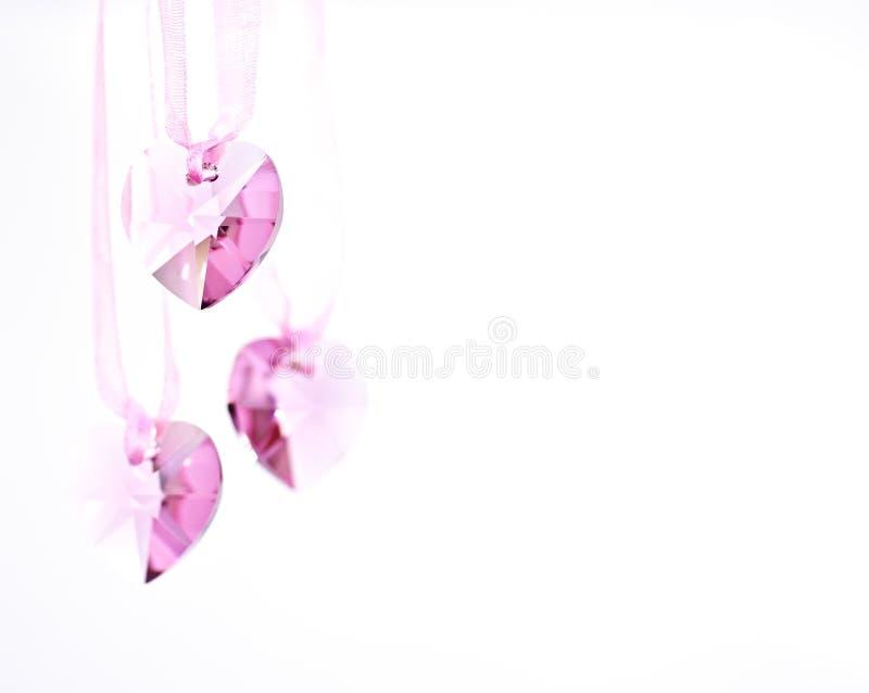 De roze Harten van het Kristal. royalty-vrije stock afbeeldingen