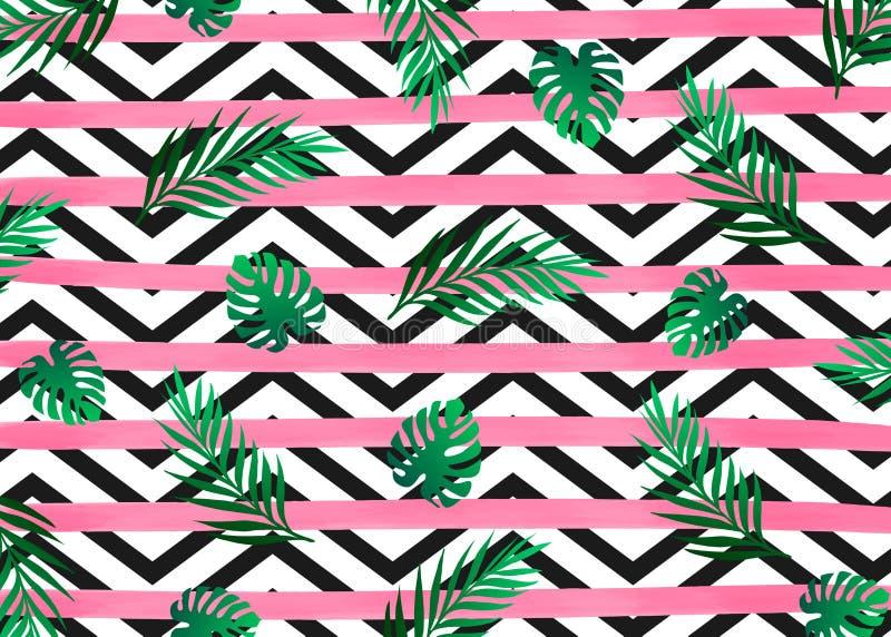 De roze horizontale strepen van waterverflijnen met de exotische tropische heldergroene boom van het wildernisregenwoud op de zwa vector illustratie