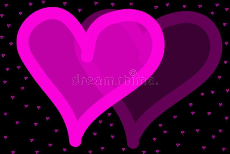 De roze Illustratie van Harten met Zwarte Achtergrond royalty-vrije stock foto