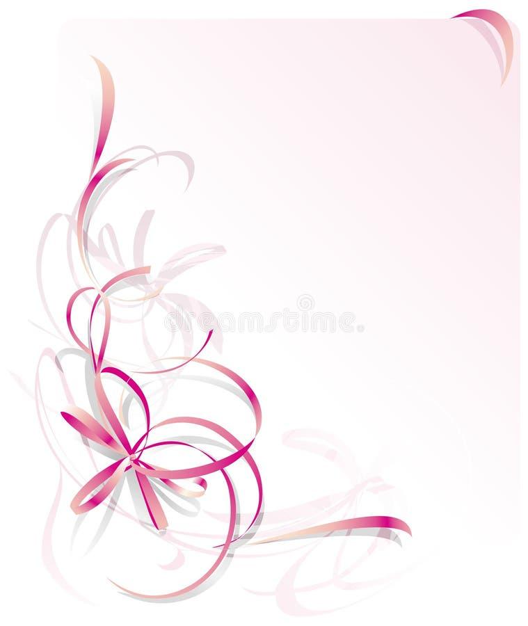 De roze Kaart van de Groet van het Lint stock illustratie