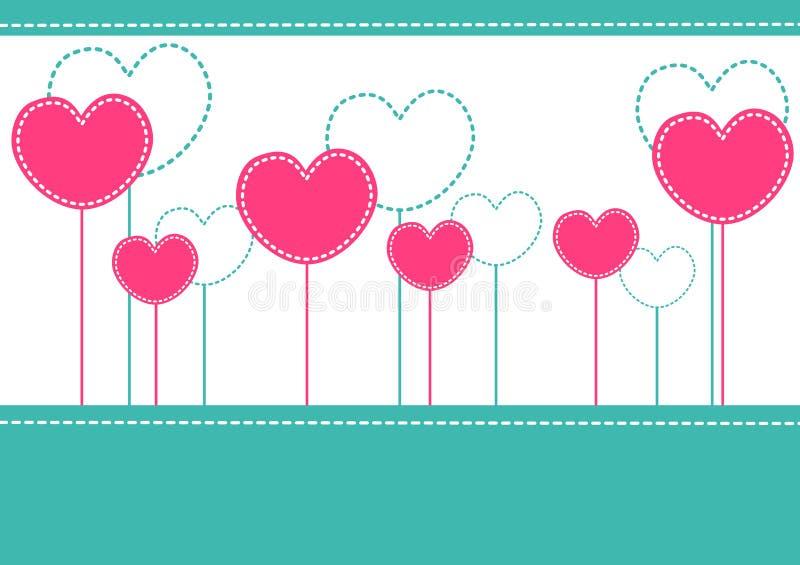 De roze kaart van de hartenuitnodiging vector illustratie