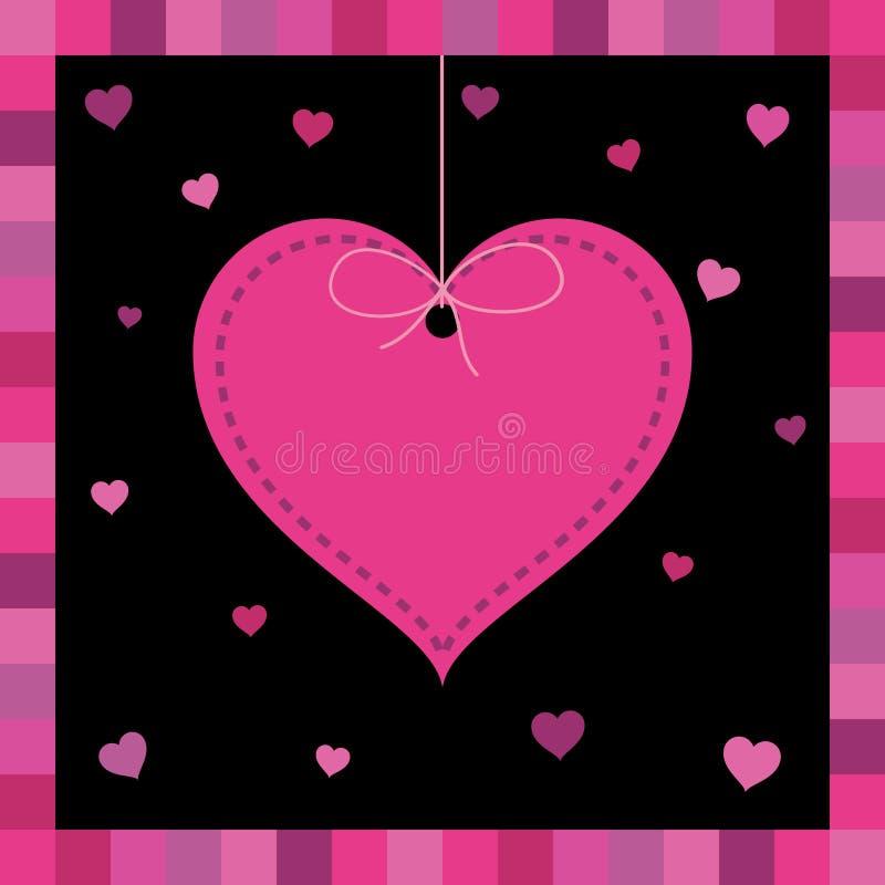 De roze kaart van de hartgroet royalty-vrije illustratie