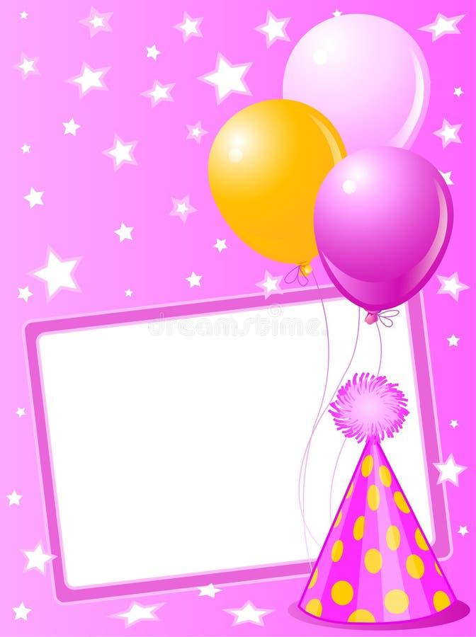 De roze kaart van de Verjaardag royalty-vrije illustratie
