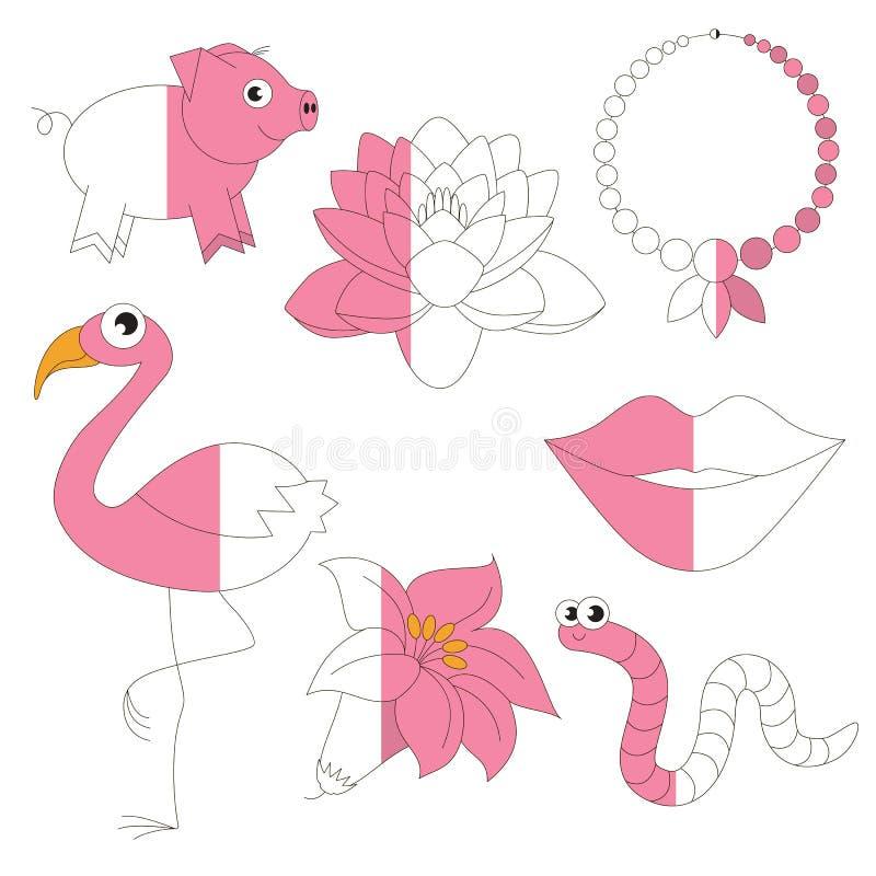 De roze Kleur heeft bezwaar, het grote jong geitjespel dat door voorbeeld half moet worden gekleurd vector illustratie