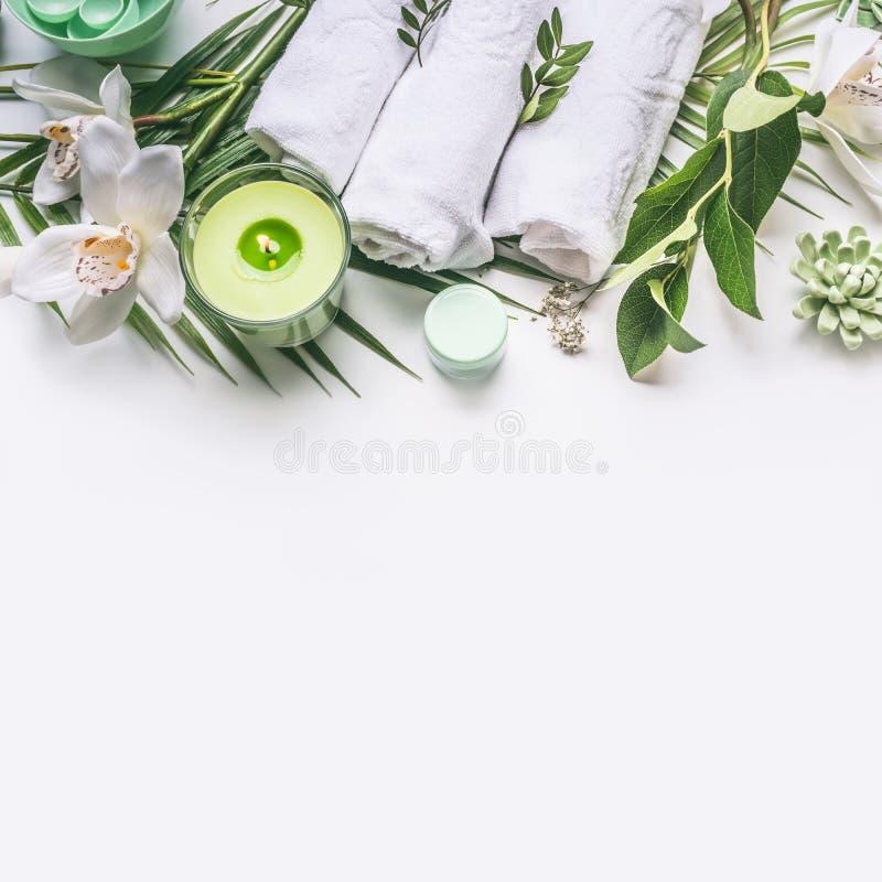De roze kruiden natuurlijke gezichtscosmetischee producten plaatsen met kruiden en bloemen op witte achtergrond royalty-vrije stock afbeelding