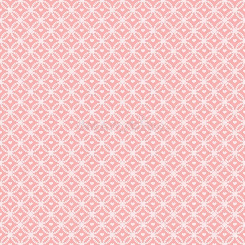 De roze Met elkaar verbindende Cirkels van het Patroon met harten stock illustratie