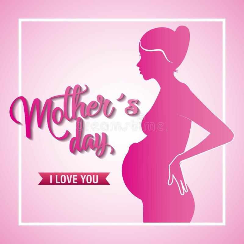 De roze de moedersdag van de silhouet zwangere vrouw houdt van u vector illustratie