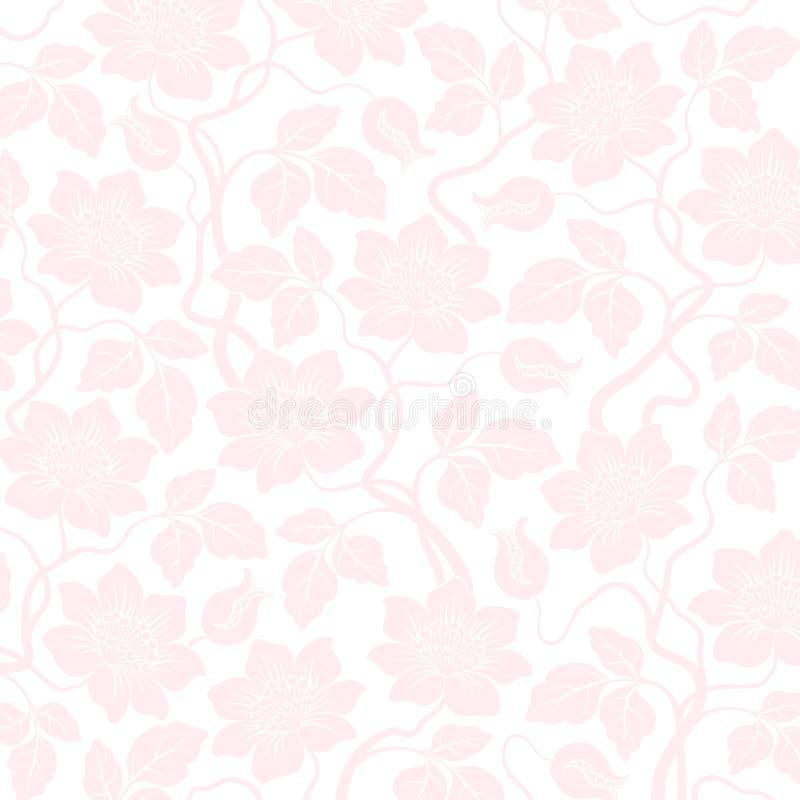 De roze naadloze achtergrond van het bloemdamast vector illustratie