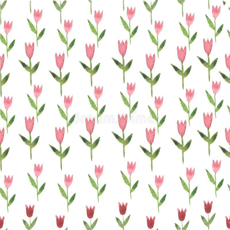 De roze naadloze tulp van de waterverfhand getrokken bloem royalty-vrije illustratie