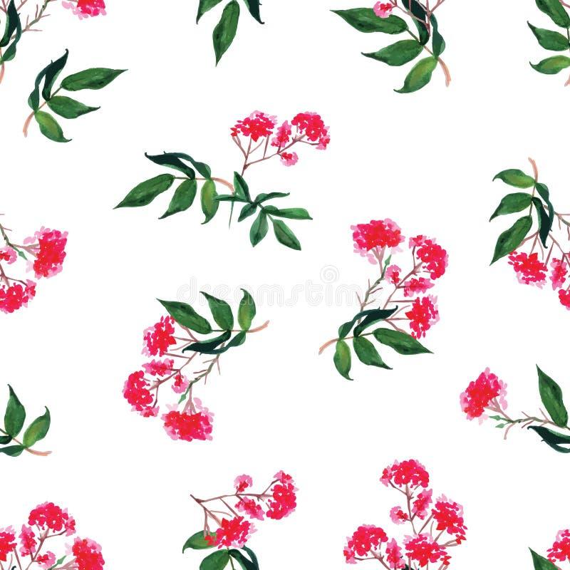 De roze naadloze vectordruk van de bloemenwaterverf royalty-vrije illustratie