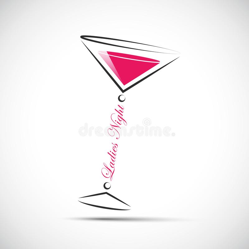 De roze nacht van cocktaildames stock illustratie