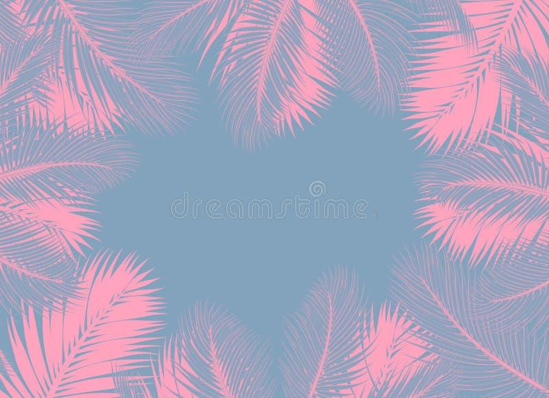 De roze Palmen doorbladert blauw concept als achtergrond royalty-vrije illustratie