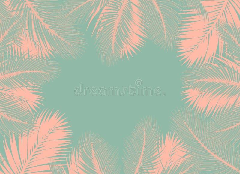 De roze Palmen doorbladert groen concept als achtergrond stock illustratie