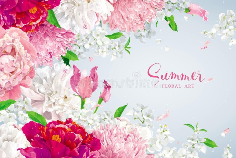 De roze, rode en witte achtergrond van de zomerbloemen vector illustratie