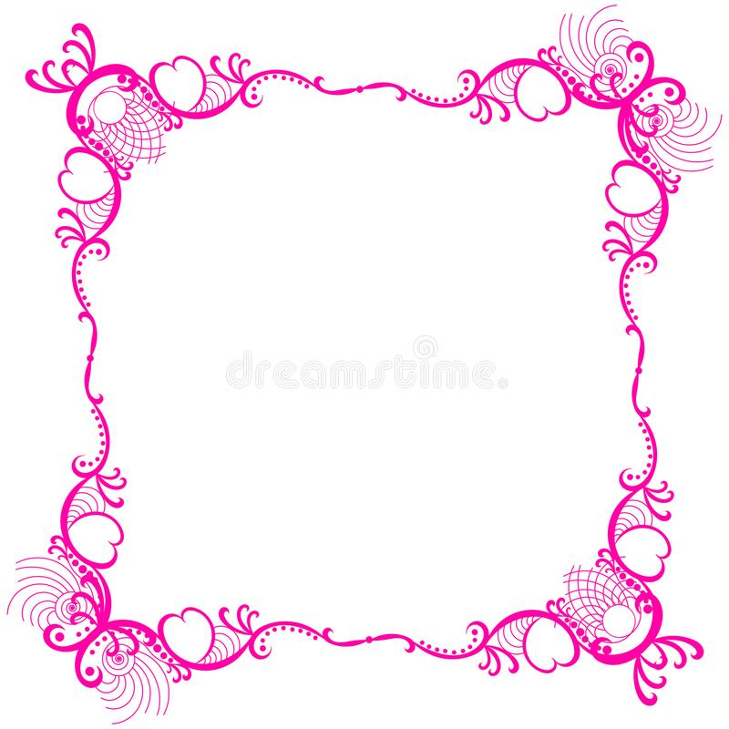 De roze Romantische Grens van het Kaderkant stock illustratie