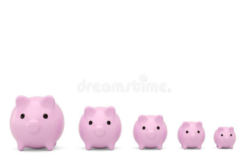 De roze serie van het spaarvarken op een wit geïsoleerde achtergrond 3D illustra royalty-vrije stock afbeeldingen