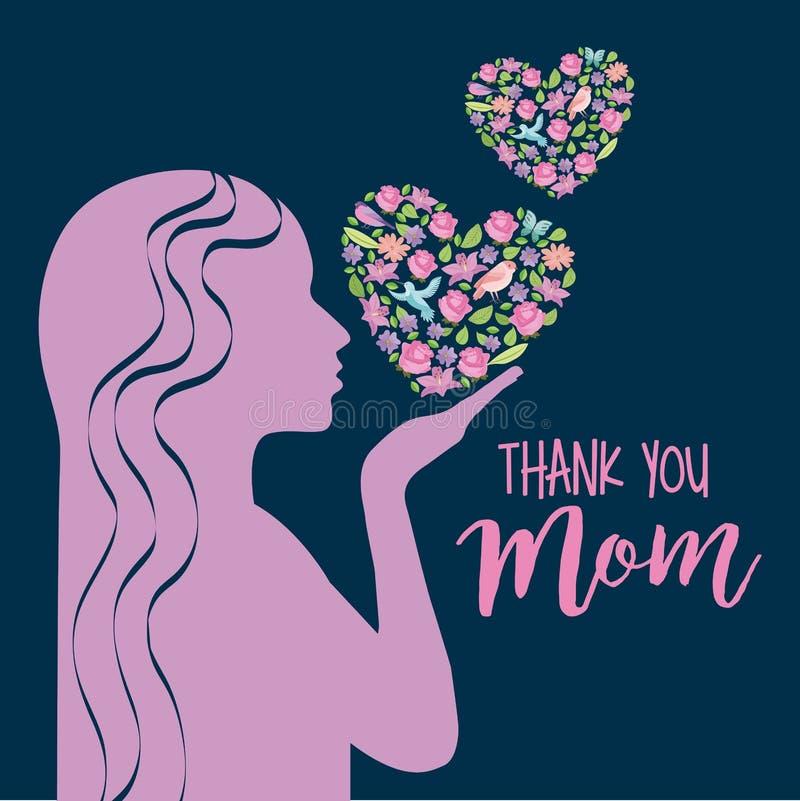 De roze silhouetvrouw met bloemenharten dankt mamma vector illustratie