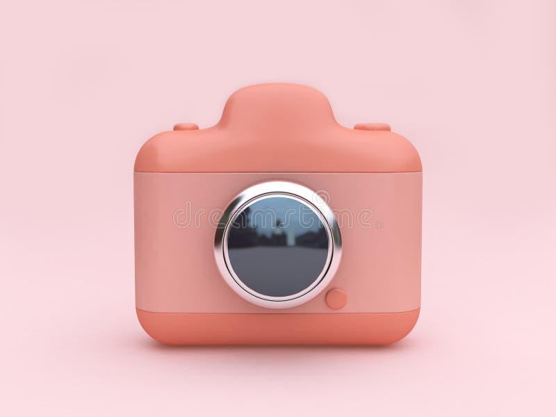 De roze stuk speelgoed camera met minimale 3d van de lens zilveren bezinning geeft terug vector illustratie
