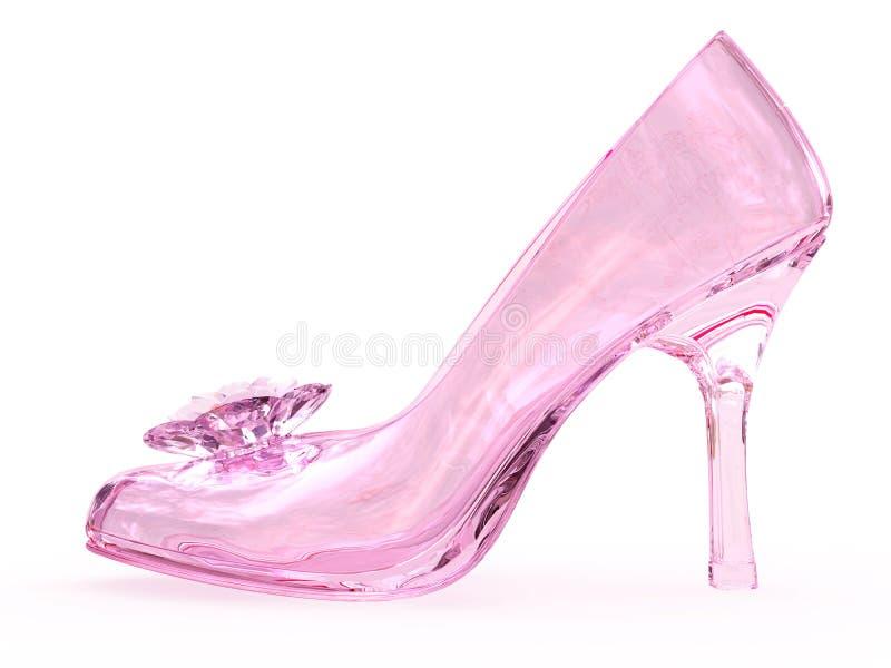 De roze vrouwelijke schoen van het kristalglas met bloem royalty-vrije stock afbeelding