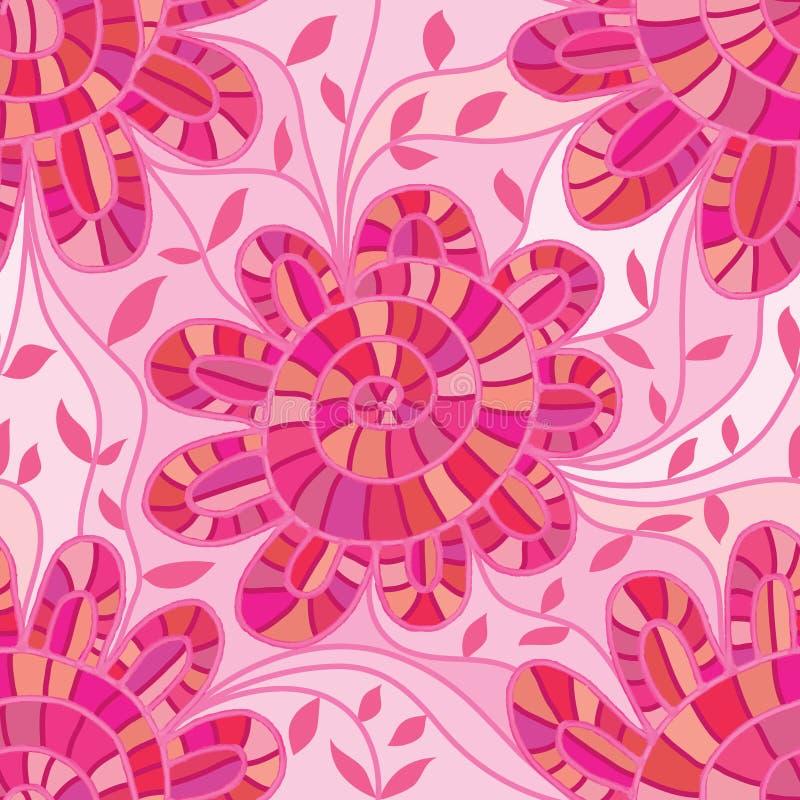 De roze werveling van de waterverfbloem verbindt naadloos patroon stock illustratie