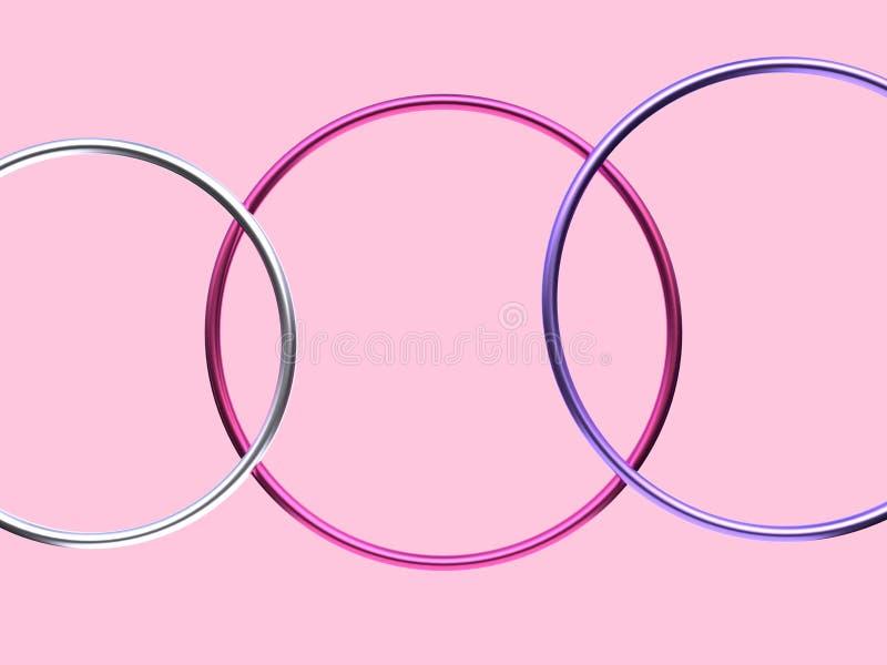 De roze zilveren blauwe blauwe vlakke abstracte achtergrond van de cirkelvorm vector illustratie