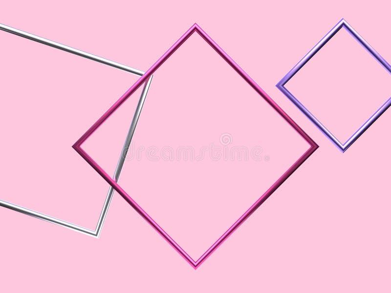 De roze zilveren purpere metaal lege 3d teruggevende abstracte achtergrond van de kaderlevitatie vector illustratie