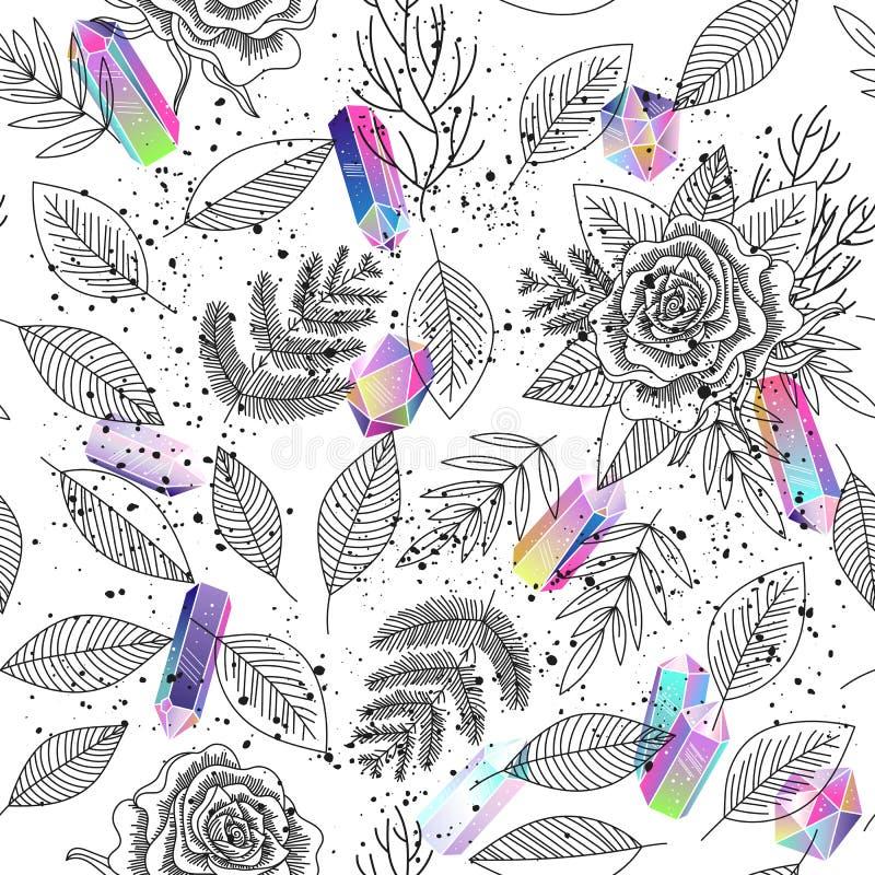 De rozen, doorbladert, kristallen naadloze vector als achtergrond