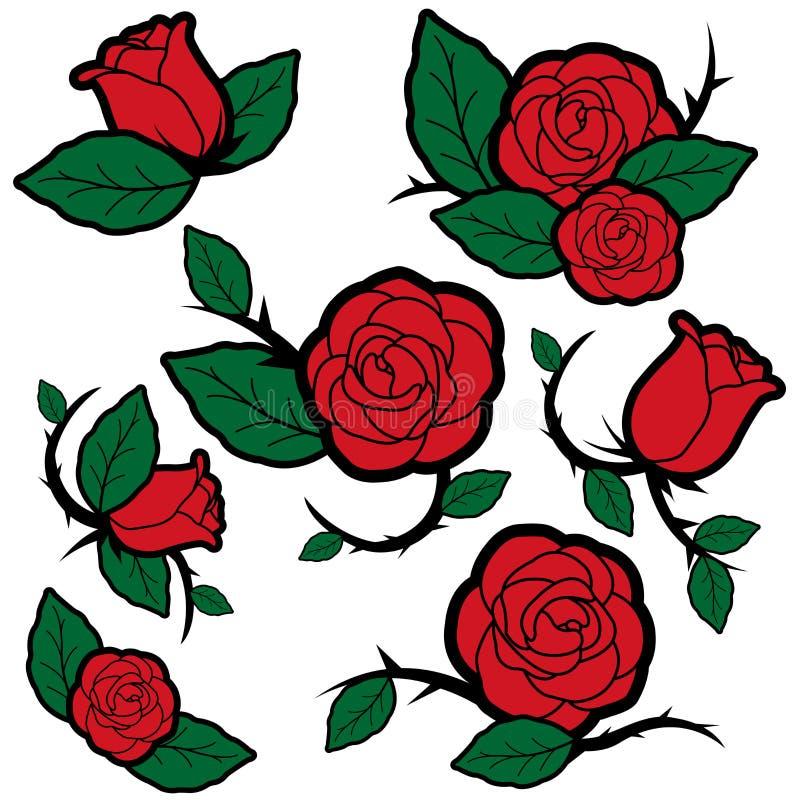 De rozen en de knoppen van de tatoegeringsstijl vector illustratie