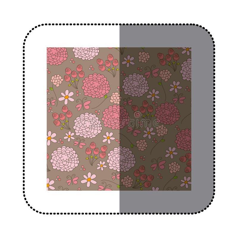 de rozen en de vlindersontwerp van het stickerpatroon royalty-vrije illustratie