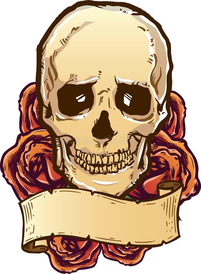 De rozen van de schedel en bannerillustratie royalty-vrije illustratie