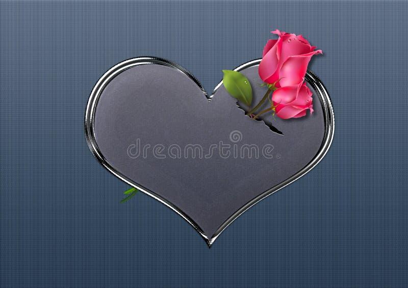 De rozen van de valentijnskaart royalty-vrije stock afbeeldingen