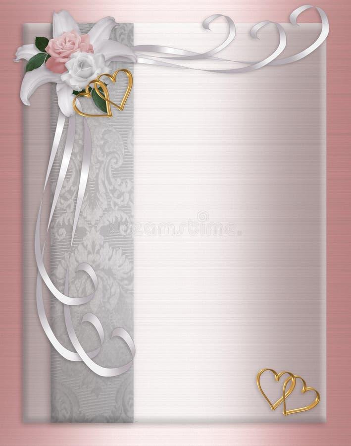 De Rozen van het Satijn van de Grens van de Uitnodiging van het huwelijk royalty-vrije illustratie