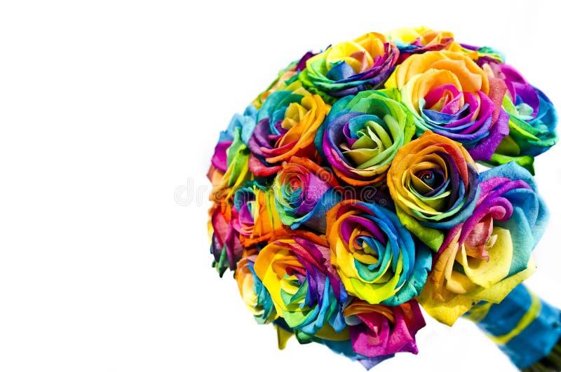 De rozenboeket van de huwelijksregenboog royalty-vrije stock afbeelding
