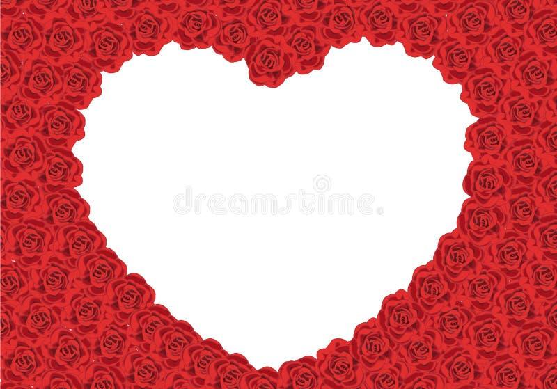 De rozenkader die van heilige Valentine een hartspatie vormen royalty-vrije stock fotografie
