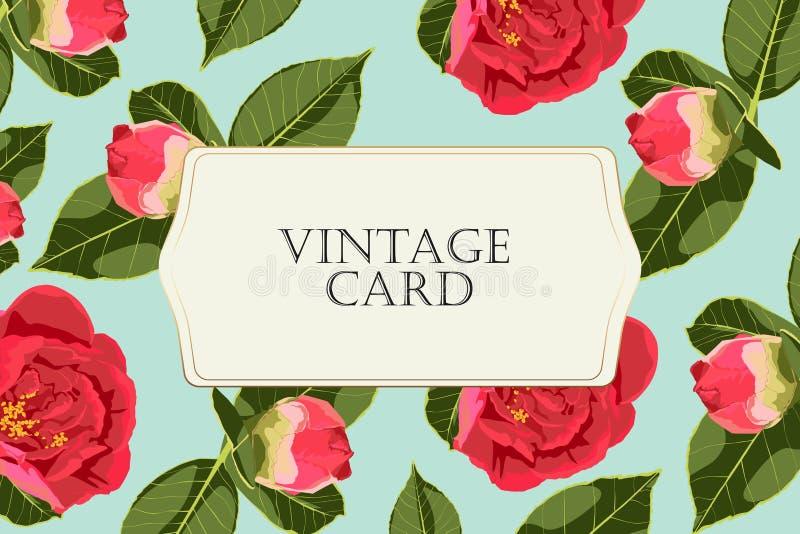 De rozenpioen, kan als groetkaart, uitnodigingskaart voor huwelijk, verjaardag en andere vakantie en de zomerachtergrond worden g royalty-vrije illustratie