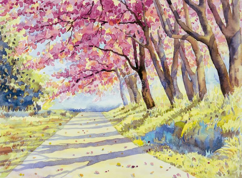 De rozerode kleur van het waterverflandschap van Wilde himalayan kers stock illustratie