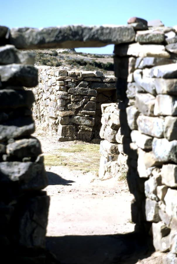 De ruïnes Bolivië van Incan stock afbeelding