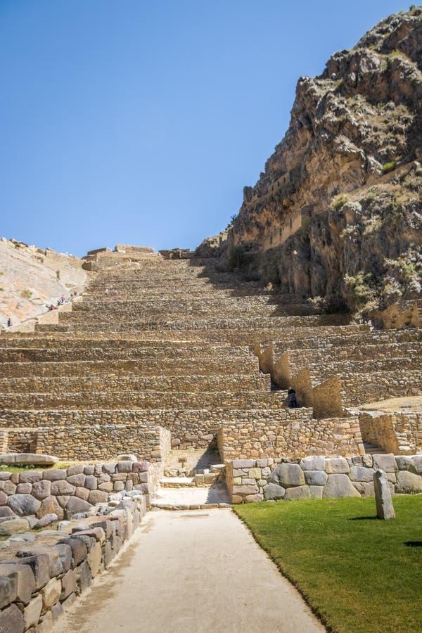 De ruïnes en de Terrassen van Ollantaytamboinca - Ollantaytambo, Heilige Vallei, Peru stock fotografie