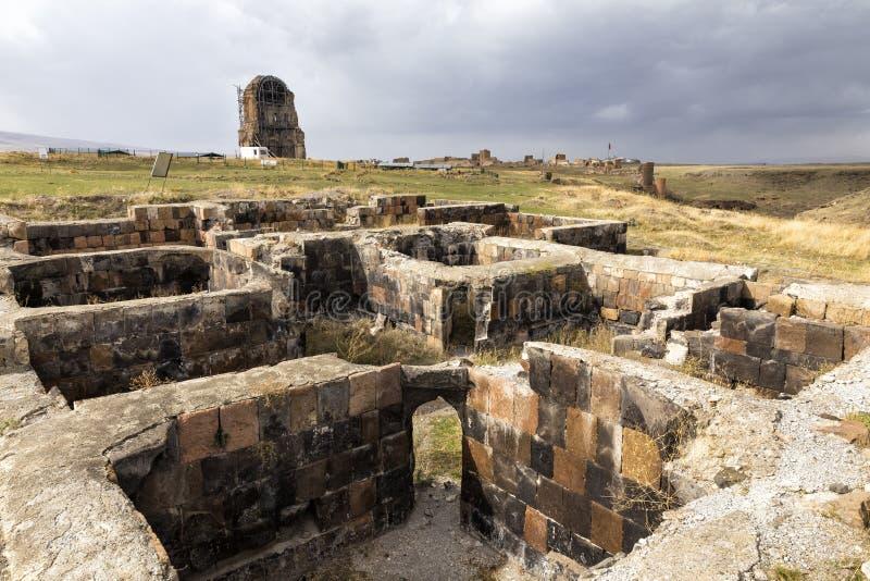 De ruïnes van Ani Ani is een geruïneerde middeleeuwse Armeense stad stock foto's