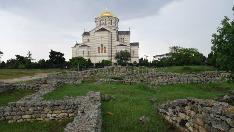 De ruïnes van Chersonesos in Sebastopol royalty-vrije stock foto's
