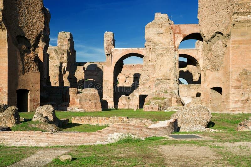De ruïnes van de Baden van Caracalla in Rome royalty-vrije stock afbeeldingen